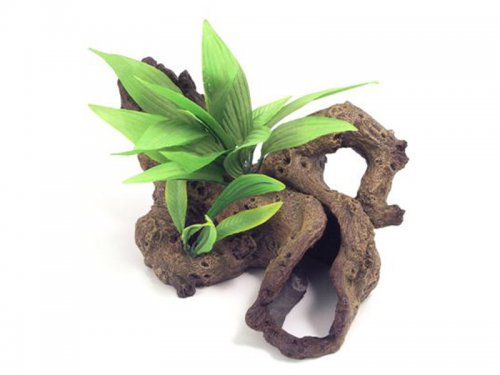 Mopani Wood With Silk Plants Small