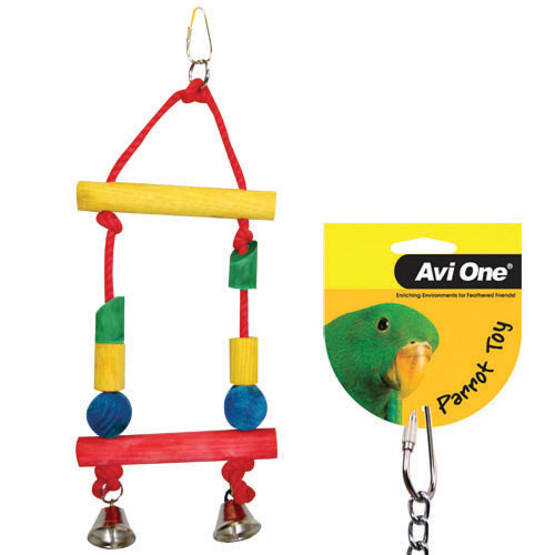 Avi One Coloured Wood & Rope Block Swing with Bells
