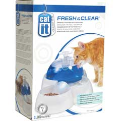 Catit Fesh & Clear Drinking Fountain With Food Bowl