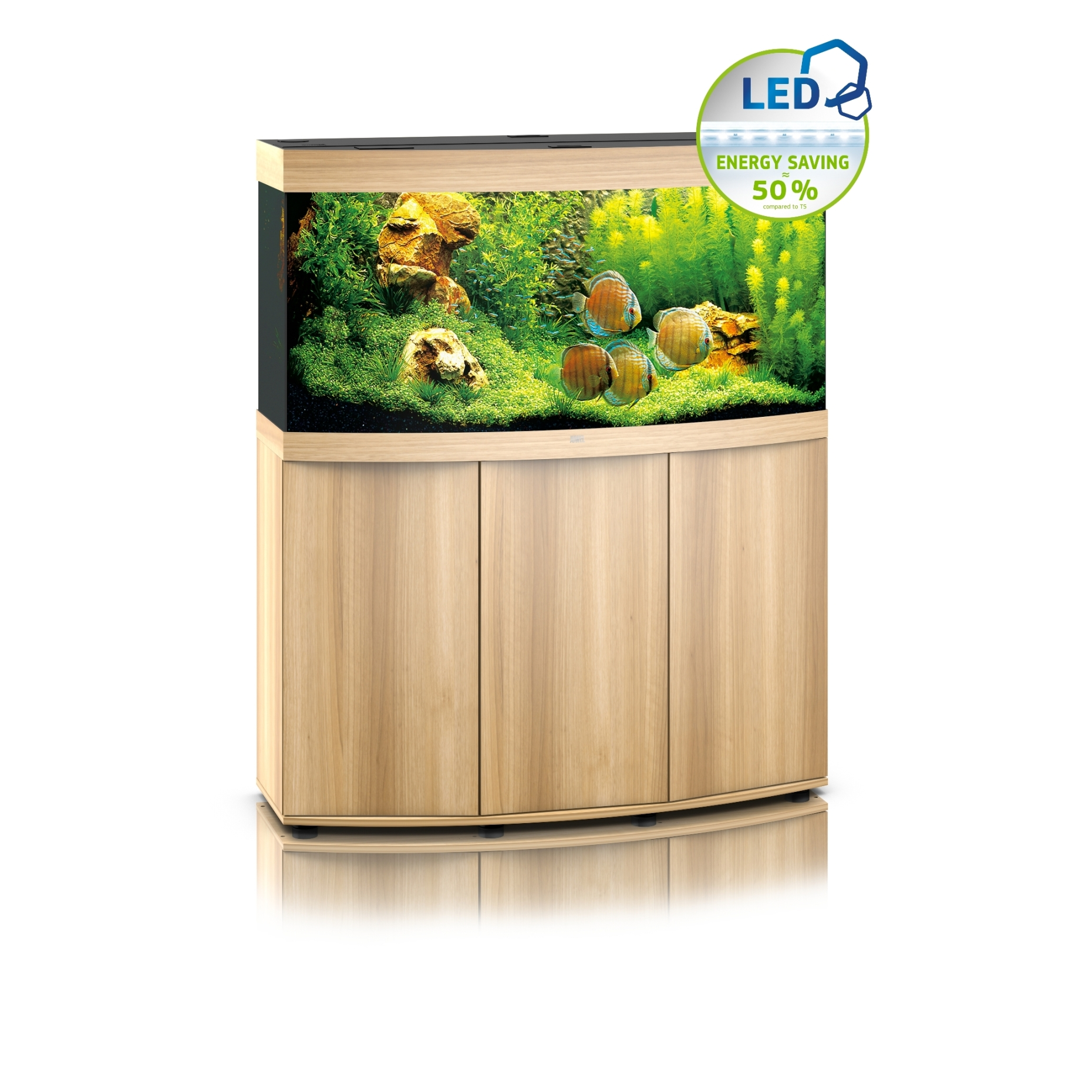 juwel vision 260 led aquarium with cabinet light wood 4022573068528. Black Bedroom Furniture Sets. Home Design Ideas